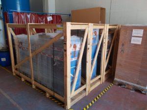 Упакованный адсорбционный генератор азотный Nitroswing перед отправкой